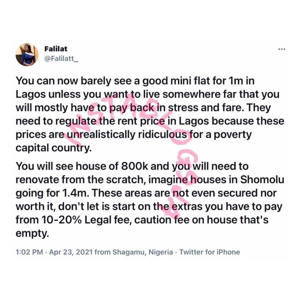Lagos house rent is unrealistically ridiculous for a poverty capital country — Media Personality Falila