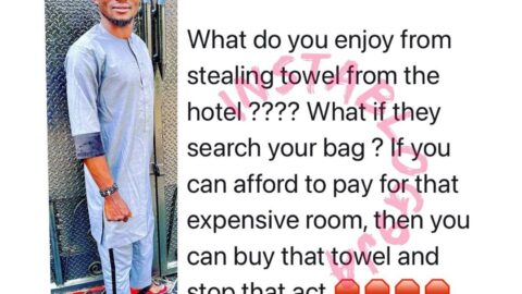 """""""Stop that act,"""" actor Jigan berates those who steal towels from hotel rooms"""