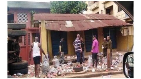 Panic as truck loaded with live bullets, falls and spills its content in Anambra .