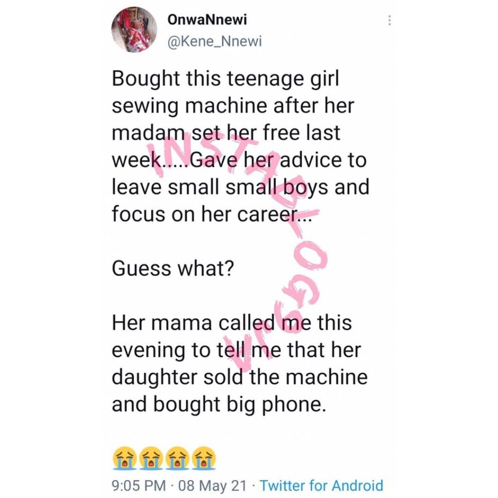 Man reveals what a teenage girl he gifted a sewing... Image
