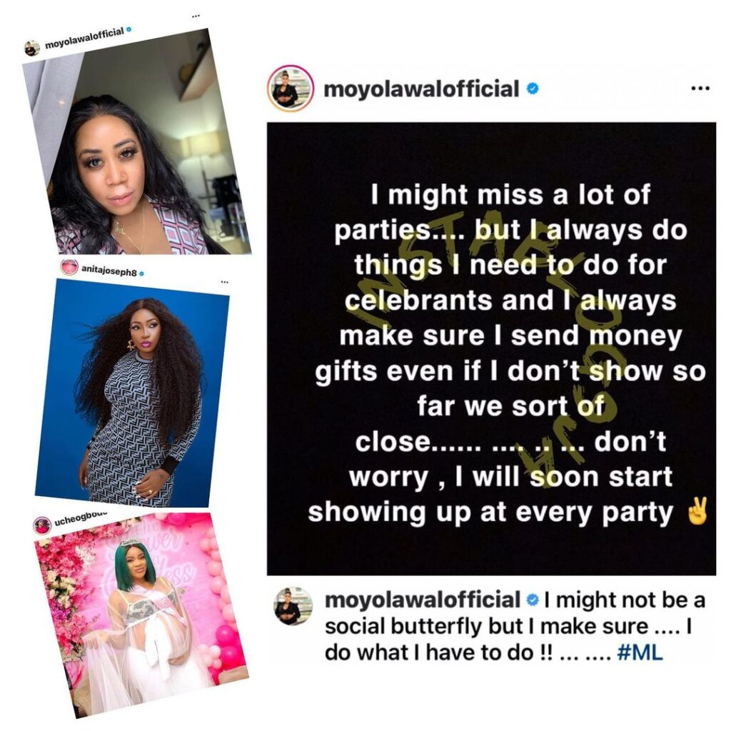 Actress Uche Ogbodo's Baby Shower: Anita Joseph and Moyo Lawal continue their fight [Swipe]
