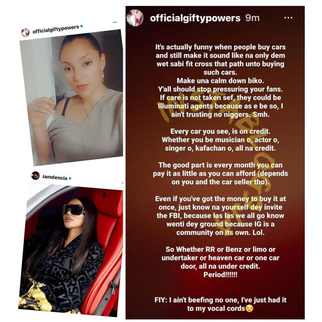 Rolls Royce: Reality TV Star, Gifty Powers, reacts to the growing fascination with public display of wealth by her colleagues [Swipe]