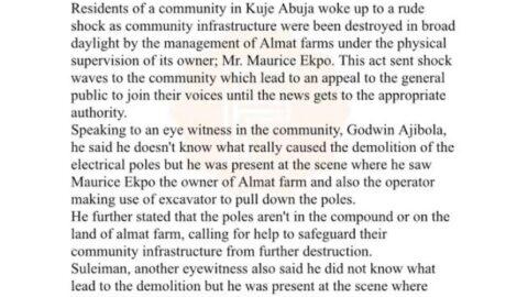 Almat farm allegedly throws kuje community into darkness.