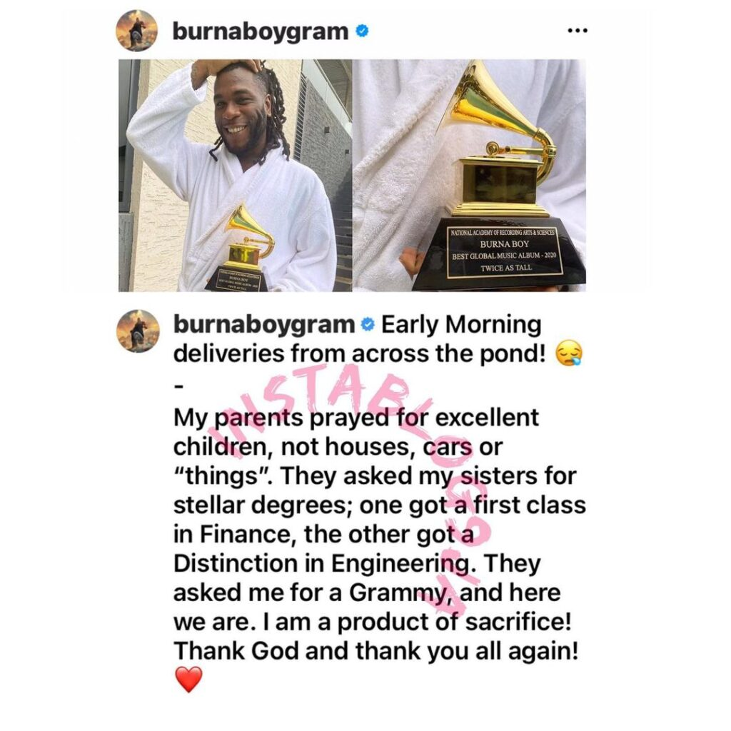 """""""I'm a product of sacrifice,"""" says singer Burnaboy, as he takes delivery of his Grammy plaque"""