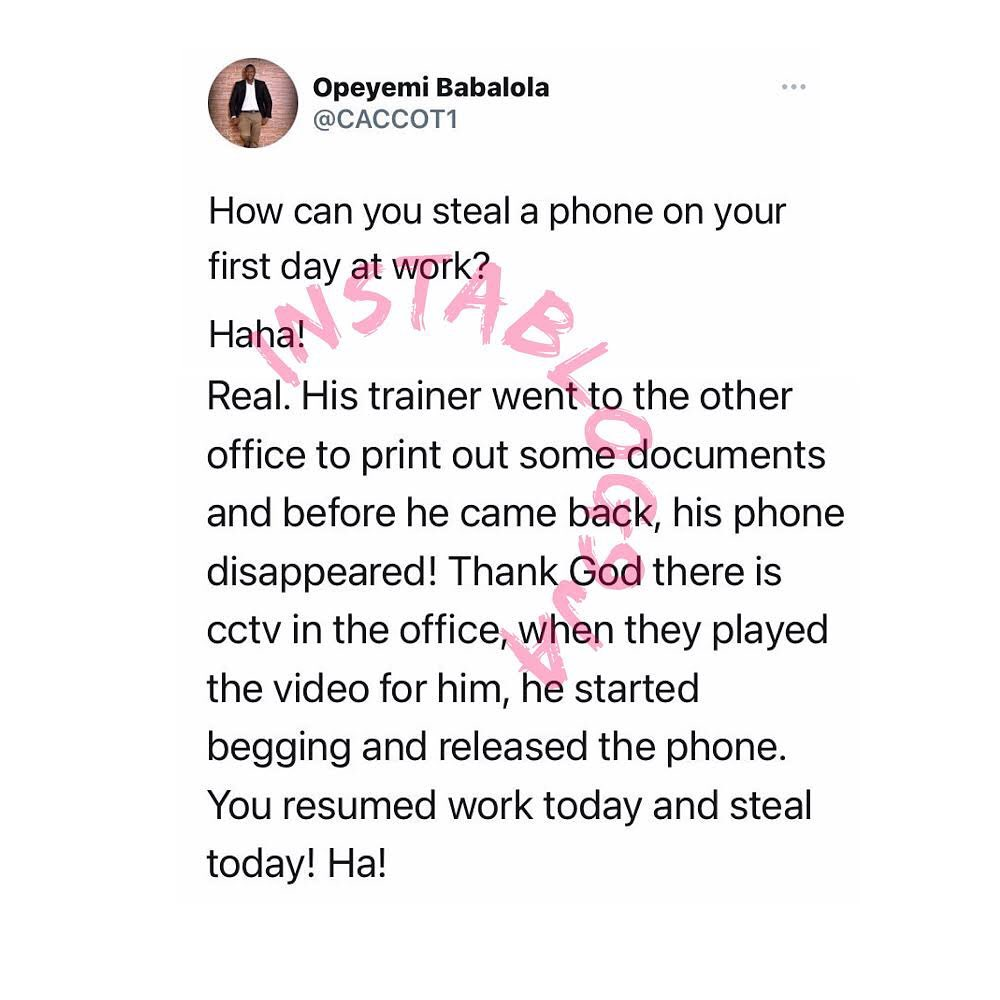 Newly recruited staff caught stealing on his first day at work