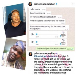 Alleged R*pe: Comedian Princess shares more damning evidence against Baba Ijesha [Swipe]