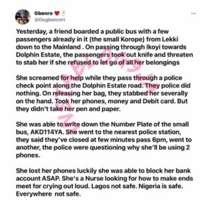 Graphic: Lagos police allegedly questioned a severely injured one-chance victim why she's using two phones. [Swipe]