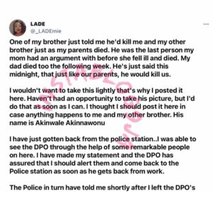 """""""Run for your life. There's nothing we can do,"""" Police allegedly tells lady whose life is being threatened by her brother [Swipe]"""