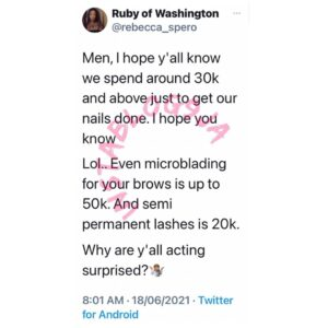 Due to the prevalence of selective amnesia, lady reminds men how much it costs for a woman to get her nails done