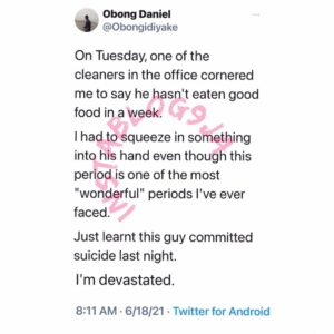 Cleaner reportedly commits s**cide days after asking his colleague for financial assistance