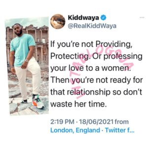 You are not ready for a relationship if you're not providing for your woman — BBN's Kiddwaya