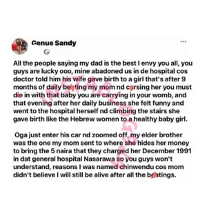 Lady recounts how her abusive dad abandoned her mom because she gave birth to her