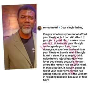 Downscale your lifestyle and accept real love — Reno Omokri advises ladies dating broke men
