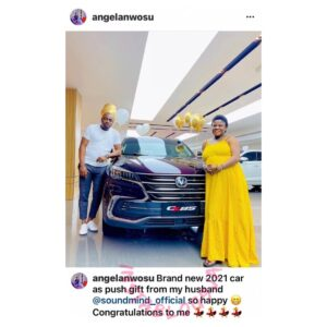 Media personality Angela Nwosu's husband, Soundmind, gifts her an SUV as push present, days after they welcomed their daughter