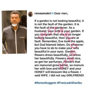 Men, if your wife is no longer beautiful, it's your fault — Reno Omokri