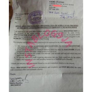 Frustrated customer writes IBEDC to PLEASE permanently disconnect his house