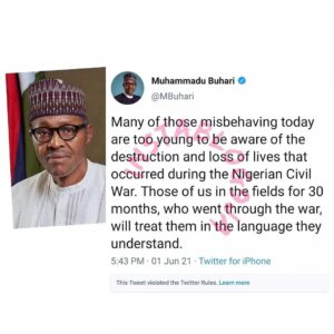 We are 'not aware' of Buhari's tweet deleted by Twitter – FG