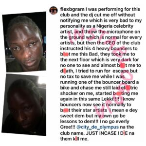 Singer FlexB accuses Lagos nightclub owner of almost b*ating him to d*ath