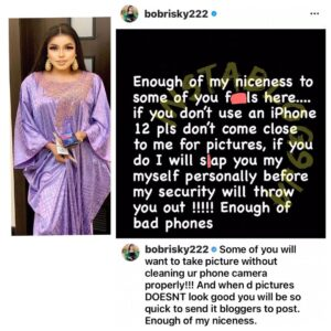 Don't try to snap pictures with me if you are not using iPhone 12 — Crossdresser Bobrisky tells fans [Swipe]