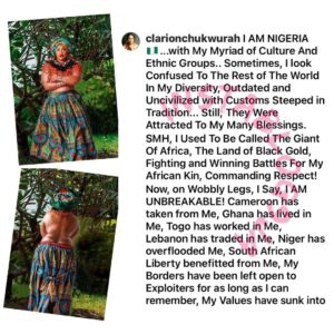 Holy Spirit is my inspiration — Actress Clarion Chukwurah says, as she goes topless [Swipe]
