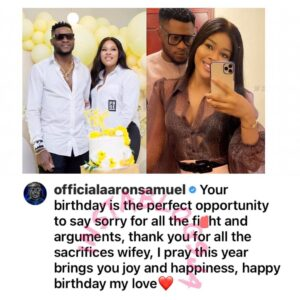 Months after their split, Nigerian Footballer, Samuel Aaron, publicly apologizes to his estranged wife on her birthday [Swipe]