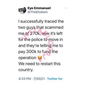 Police officers allegedly asked man to pay ₦300k mobilization fee
