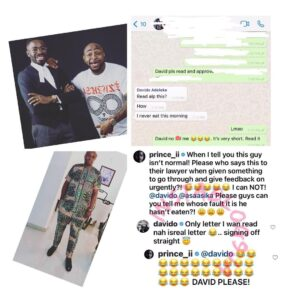 The only letter I want to read is Israel's sack letter — Singer Davido informs his lawyer [Swipe]