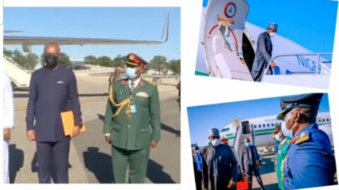 Pres. Buhari arrives New York for UN General Assembly .