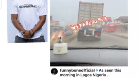 Comedian FunnyBone reacts after spotting a bent truck in Ikorudu, Lagos