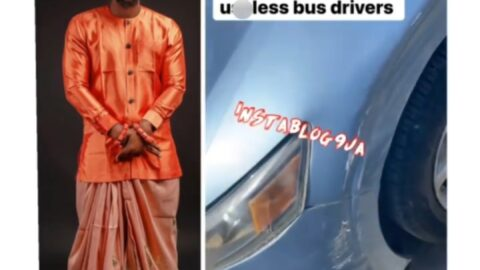 Lagos bus drivers leave their mark on reality TV star, Tuoyo's car