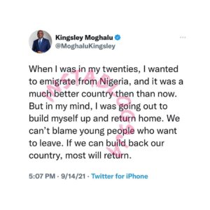 We can't blame young people who want to leave the country – ex-Presidential Candidate, Moghalu