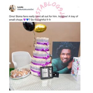 Thoughtful fans of BBN's Boma gift him a tray of small chops and other complimentary gifts