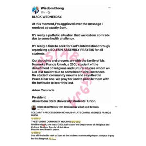 AKSU students stage a silent protest after a 200 level student allegedly d*ed due to medical negligence