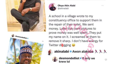 Constituency Projects: Hon. Desmond Elliot reacts after his colleague, Hon. Akin Alabi, revealed how he avoided wahala