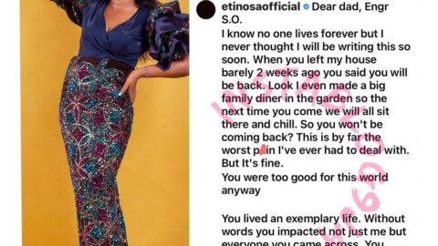 Actress Etinosa vows never to give birth again after losing her dad [Swipe]