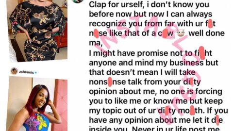Crossdresser Bobrisky replies actress Seun Osigbesan [Swipe]