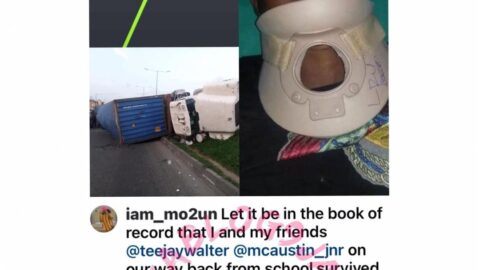 Students who miraculously came out alive after a container fell on their car in Lagos, speak. [Swipe]