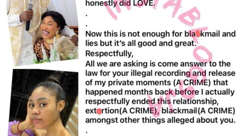 """""""My ex-boyfriend has so much of your s*x tapes in his possession,"""" Actress Tonto Dikeh tells dancer Jane Mena, as she responds to his lawsuit against her [Swipe]"""