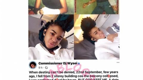 I was confirmed d*ad for hours after falling from two-storey building — DJ Wysei reveals