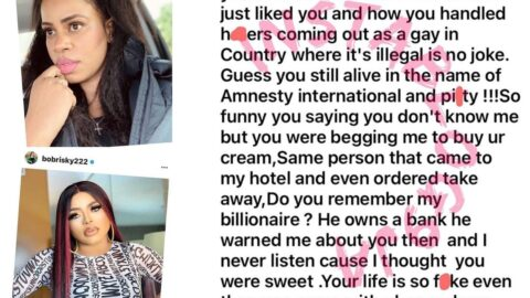 """""""You came to my hotel and even ordered take away,"""" Singer Daffy Blanco tells crossdresser Bobrisky, after he denied ever meeting her [Swipe]"""