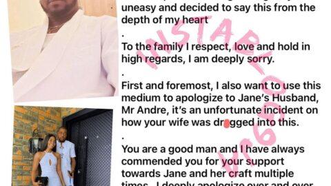 Alleged S*x Tapes: Actress Tonto Dikeh's ex-boyfriend, Kpokpogri, apologizes to dancer Jane Mena's husband and family [Swipe]