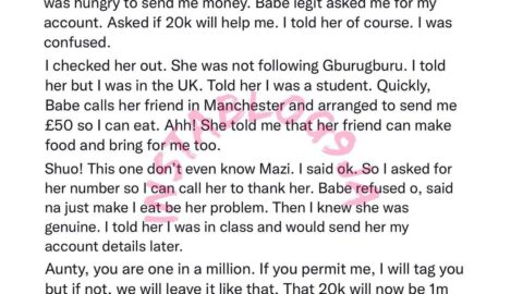 Benevolent lady to get a N1m reward for helping a businessman with food and N20k