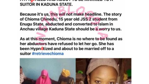 15-year-old girl reportedly abd*cted from her home in Enugu and set to be married to a suitor in Kaduna [Swipe]