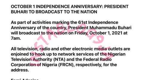 Independence Day: President Buhari to address the nation on Friday, October 1, at 7am