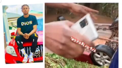 AComedian Harrison Naira walks out alive after his car skidded off the road and fell into a ditch