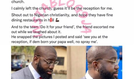 Groomsman sent out of a church for wearing earrings in Isolo, Lagos