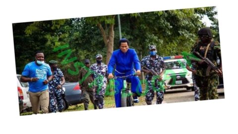 Abuja-based Pastor seen arriving an event on his bicycle and heavy security