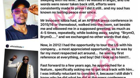 Singer Brymo calls out 2face Idibia. [Swipe]