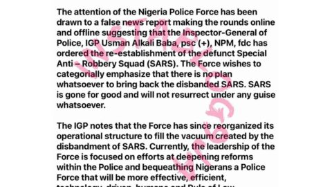 There's no plan to bring back SARS — IGP