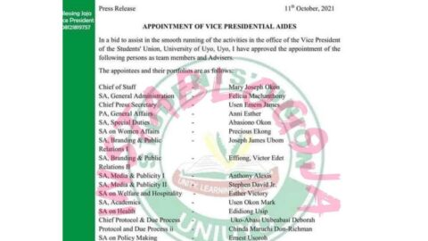Leader of Tomorrow: UNIUYO Students' Union Vice-President appoints eighteen aides